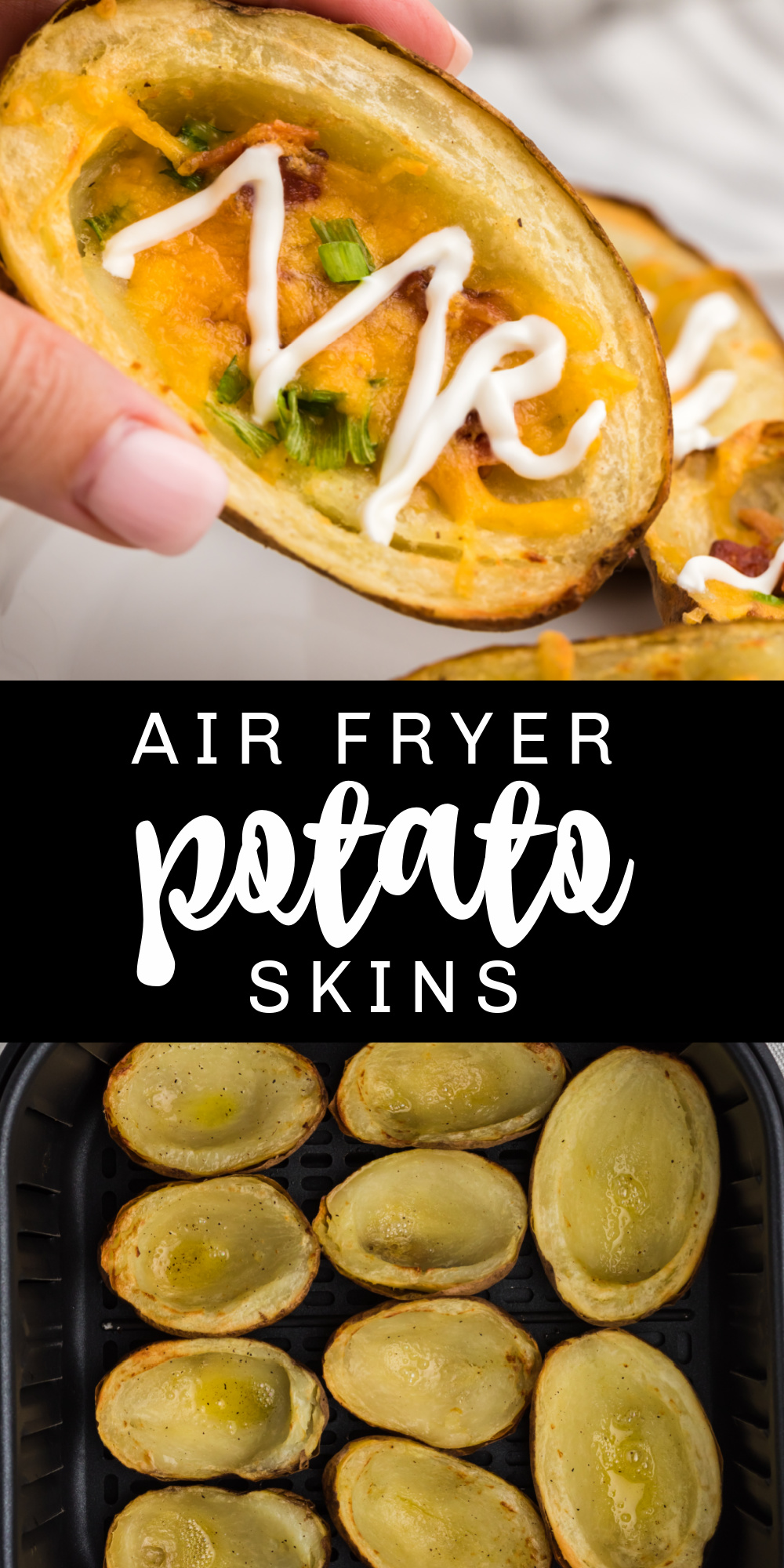 These Air Fryer Potato Skins are crispy, loaded, and delicious! Made with petite potatoes, cheese, bacon, sour cream, and chives. It's the perfect easy air fryer appetizer everyone loves to snack on.