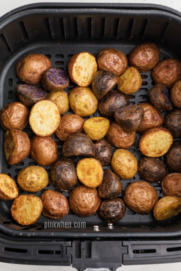 Fully cooked and seasoned roasted potatoes made in the air fryer.