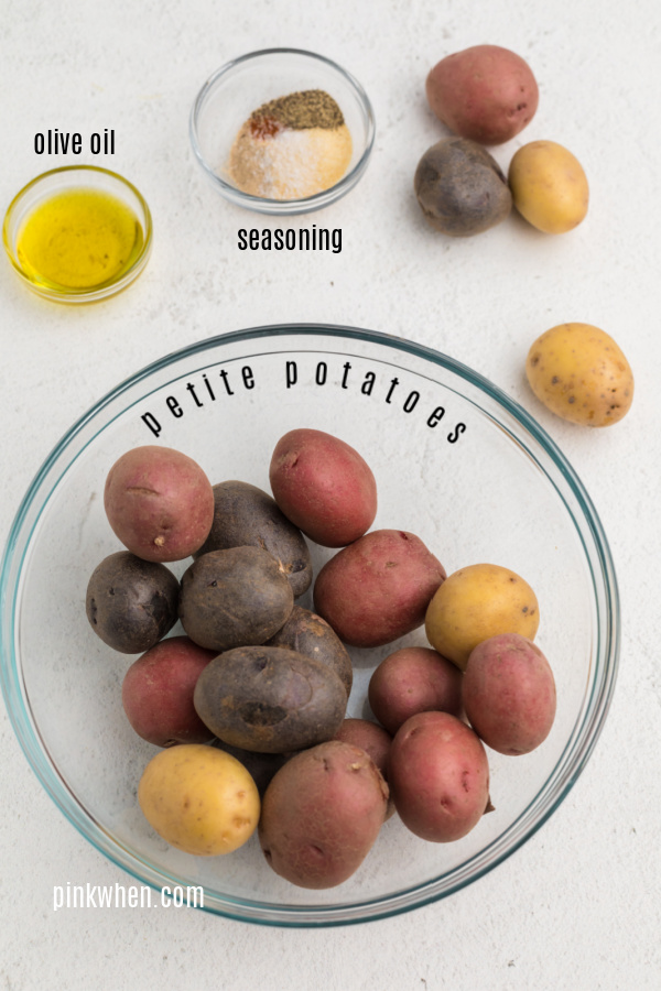 Ingredients needed to make roasted potatoes in the air fryer.