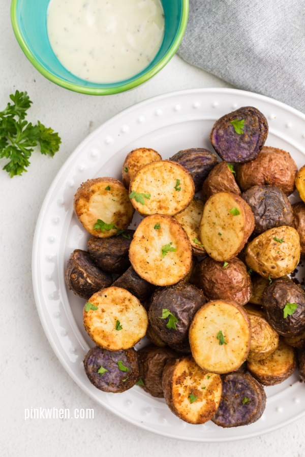 Roasted Potatoes made in the Air Fryer seasoned, and ready to serve.