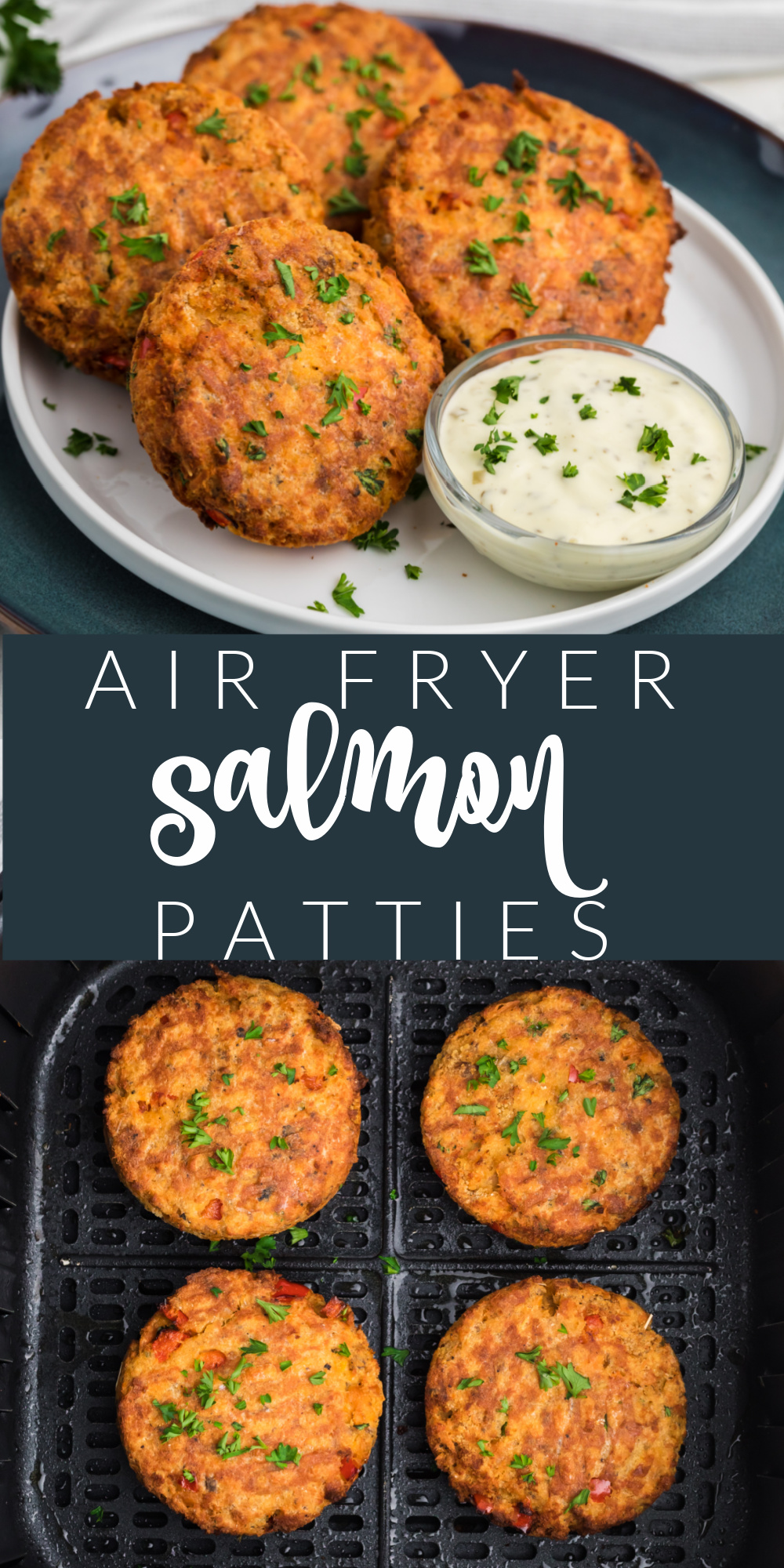 Air Fryer Salmon Patties are made with salmon, mayo, breadcrumbs, bell pepper, seasonings, and more. It's a delicious and easy air fryer recipe that's made in just minutes!