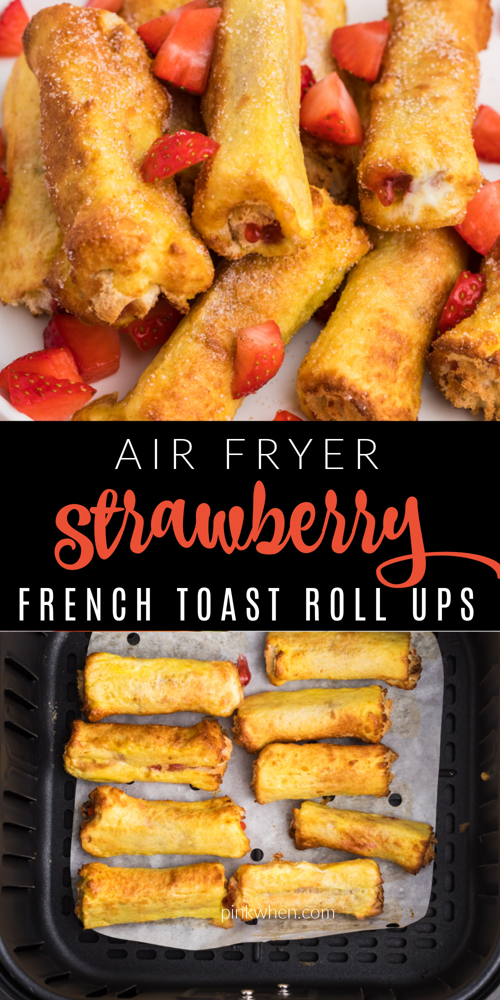 Air Fryer Strawberry French Toast Roll Ups are the fastest way to get my kids moving in the morning! Made with bread, eggs, cinnamon, sugar, strawberry preserves, and more! It's an easy air fryer recipe that's full of flavor the entire family loves.