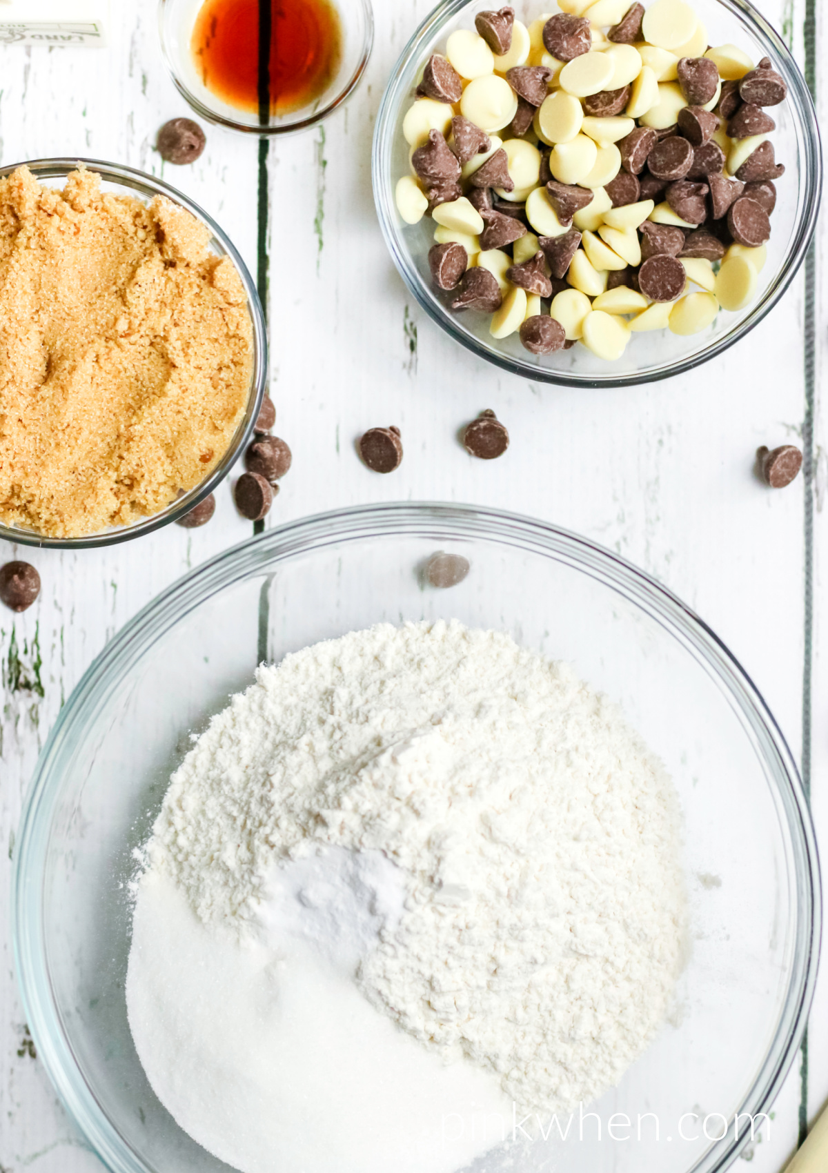 Ingredients needed to make a homemade cookie cake.