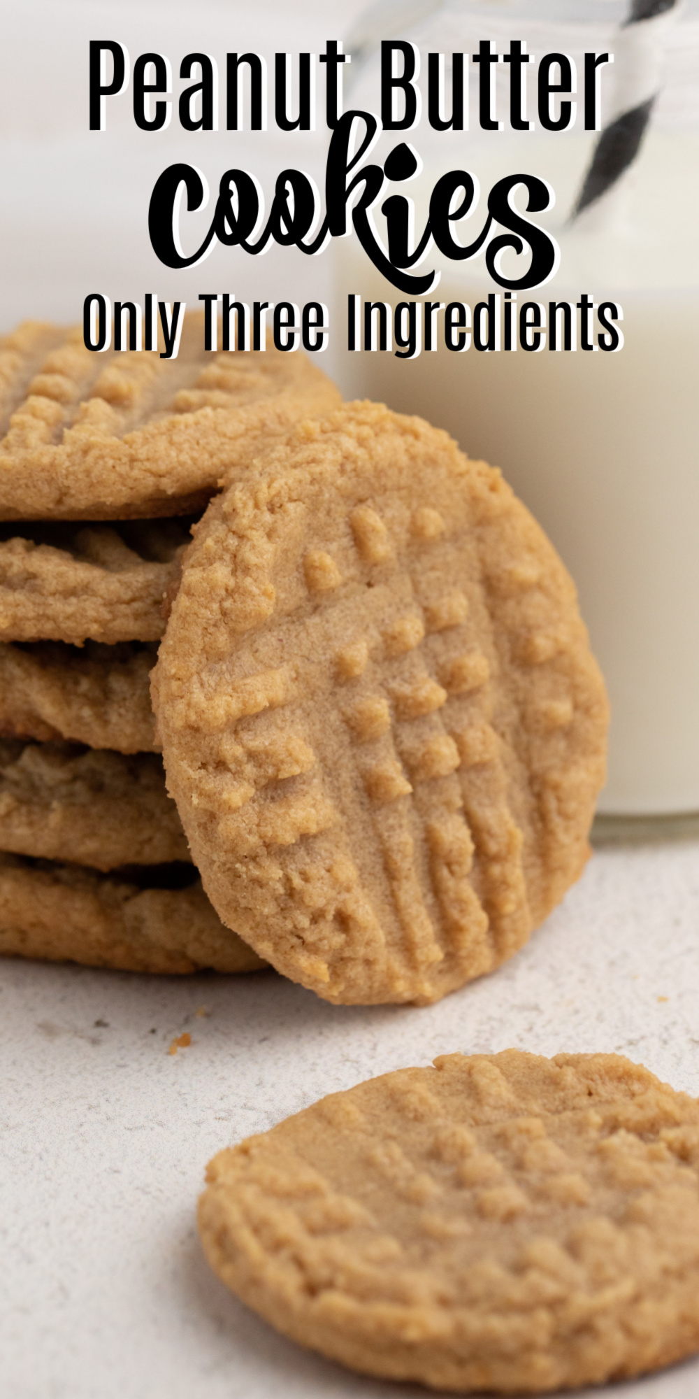 Three Ingredient Peanut Butter Cookies are some of my favorite easy cookies to make. You only need a few ingredients and less than 10 minutes before you are snacking on this delicious and easy treat. An easy family favorite and easy dessert recipe!