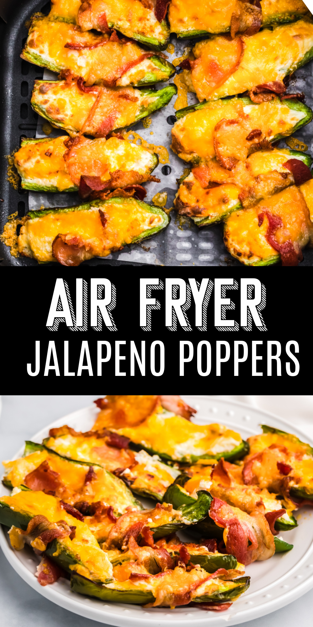 Air Fryer Bacon Wrapped Jalapenos are the perfect low carb finger food and appetizer for game day or family gatherings. Made with jalapeño peppers, cream cheese, cheddar cheese, and crispy bacon.