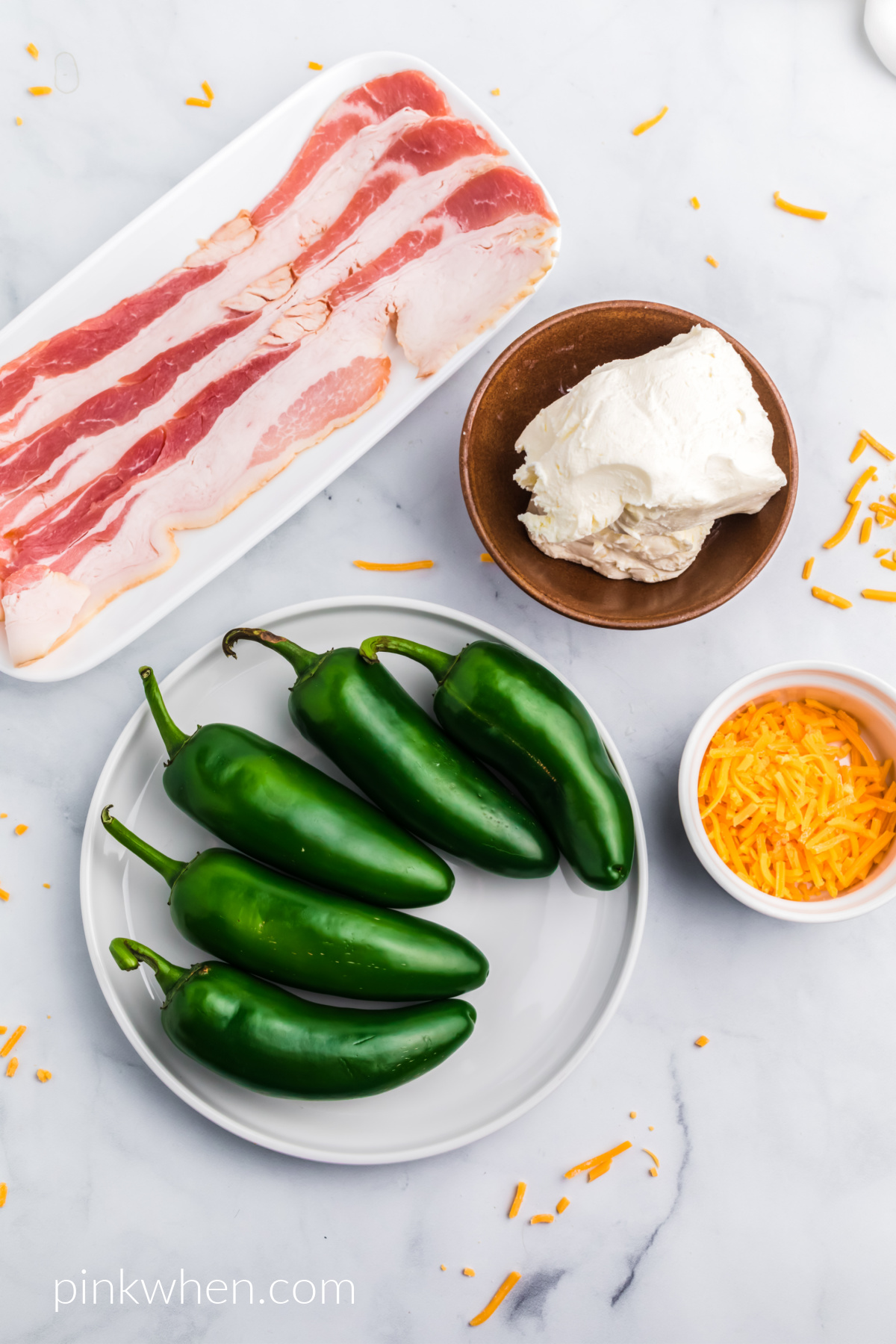 Ingredients needed to make jalapeno poppers in the air fryer.