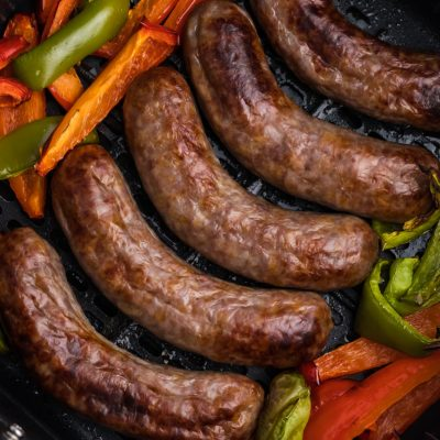 Air Fryer Brats and Peppers