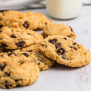 Air Fried Chocolate Chip Cookies on a white table ready to eat.
