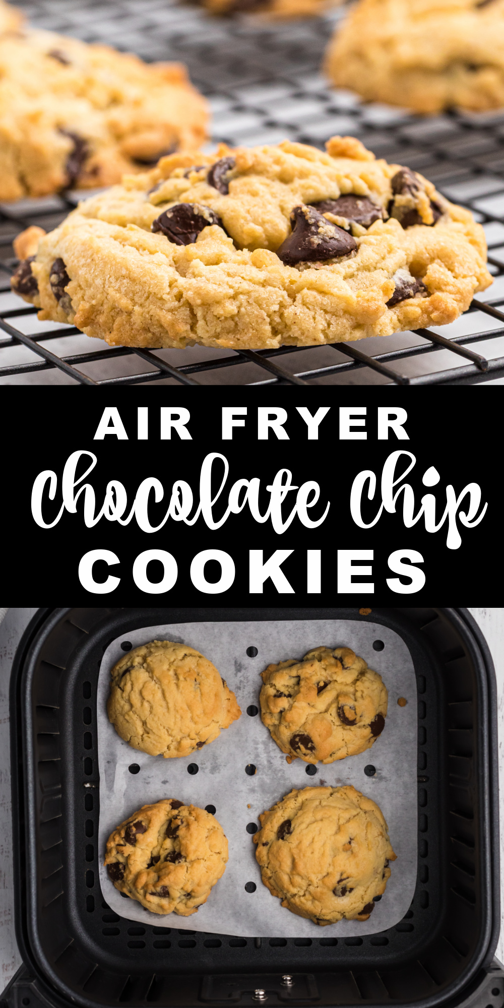Air Fryer Chocolate Chip Cookies are some of my favorite cookies to make when I'm craving soft, doughy, cookies but don't want to make an entire batch. Made with brown sugar, vanilla, chocolate chips, and more! An easy air fryer dessert recipe.