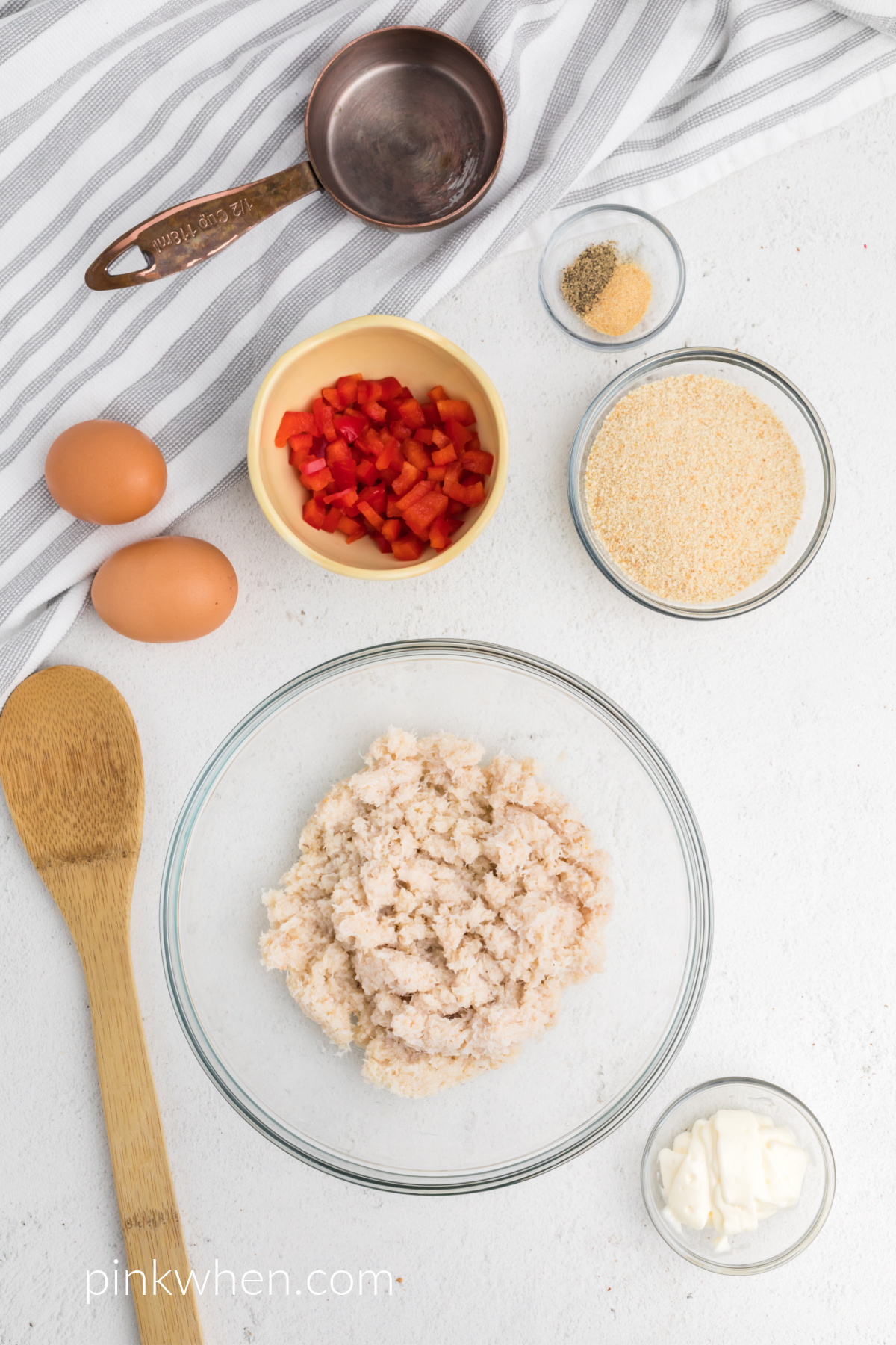 Ingredients needed to make crab cakes.