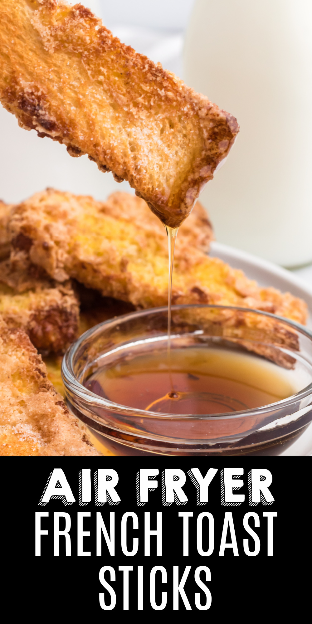 Air Fryer French Toast Sticks are one of my favorite breakfast recipes to make. This quick recipe is made with just four ingredients and done in less than 10 minutes. It's an easy recipe for French Toast that's so simple to make!
