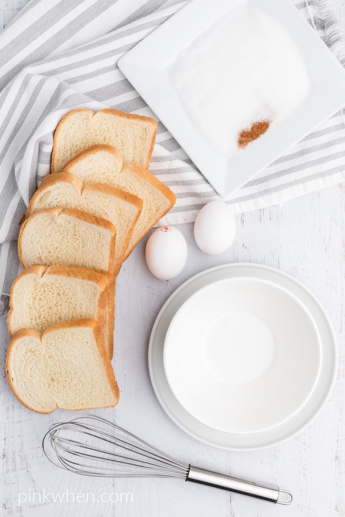 Ingredients needed to make air fryer french toast sticks