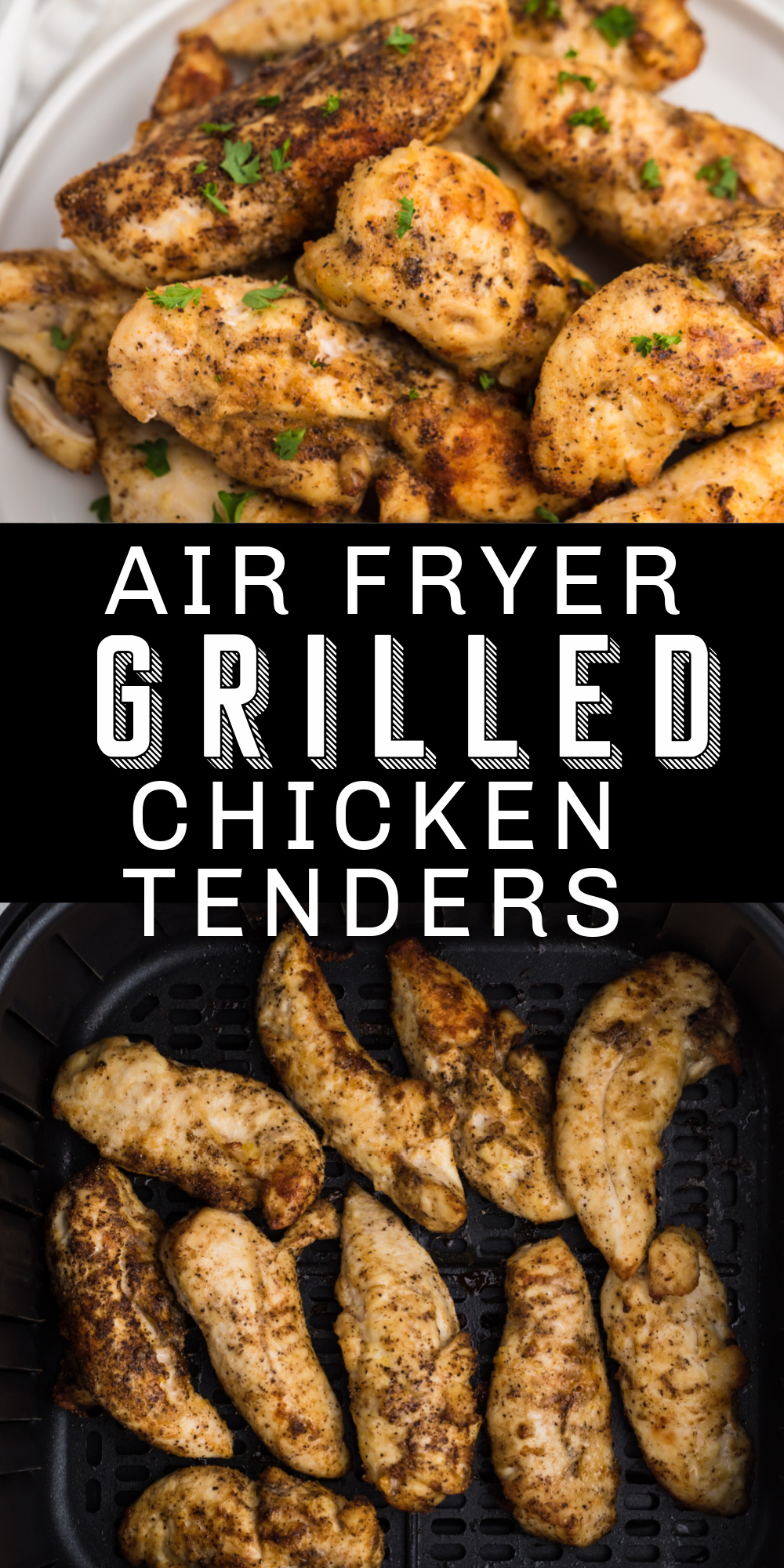 Air Fryer Grilled Chicken Tenders are a family favorite at my house! These low carb chicken fingers are homemade, delicious, easy, and only take 10 minutes. All using staple ingredients you probably already have on hand. It's an easy air fryer recipe this whole family will love.