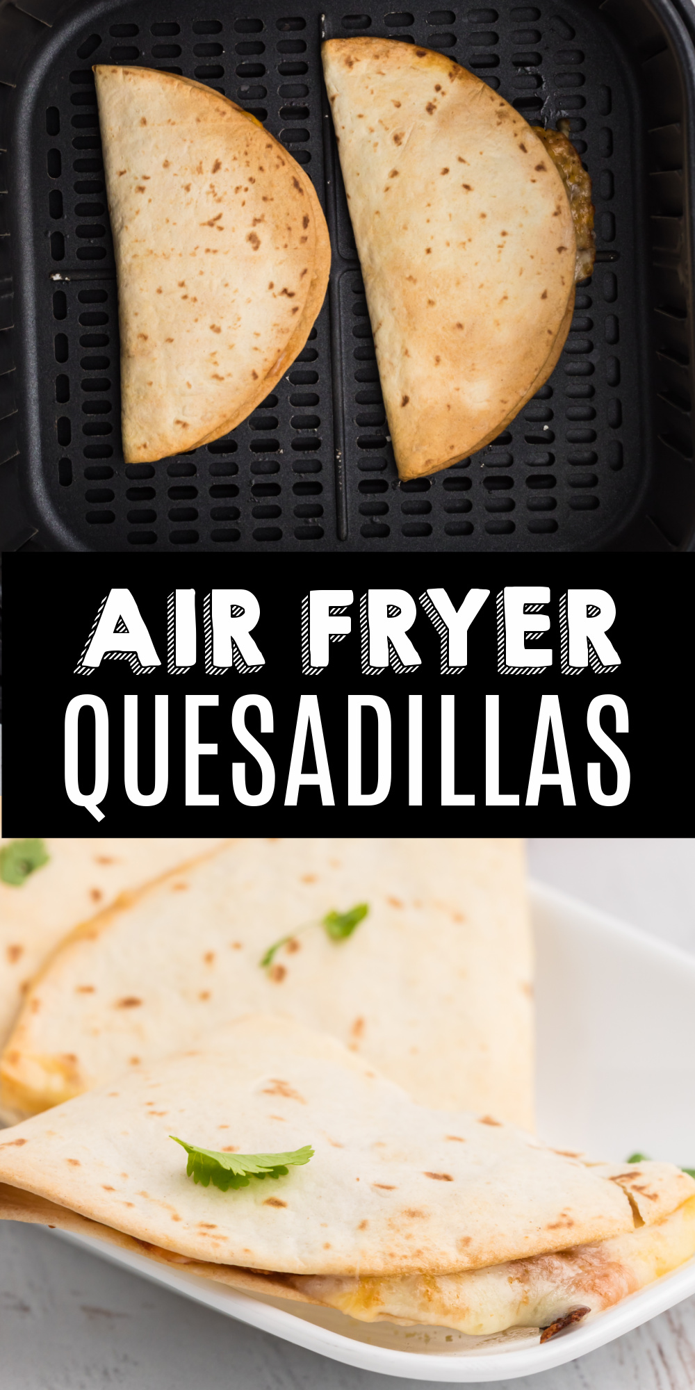 Who doesn't love Mexican food? You can get your fix in less than 10 minutes with this recipe. These Air Fryer Quesadillas are a family favorite at my house. Delicious, easy, and cheesy. You'll have that perfect crispy tortilla with this simple recipe everyone loves.