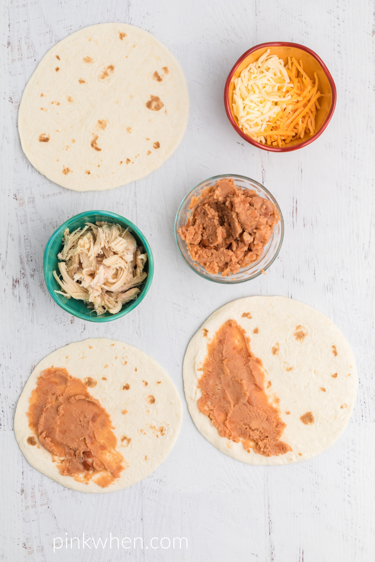 Air Fryer Quesadillas with refried beans on one side.