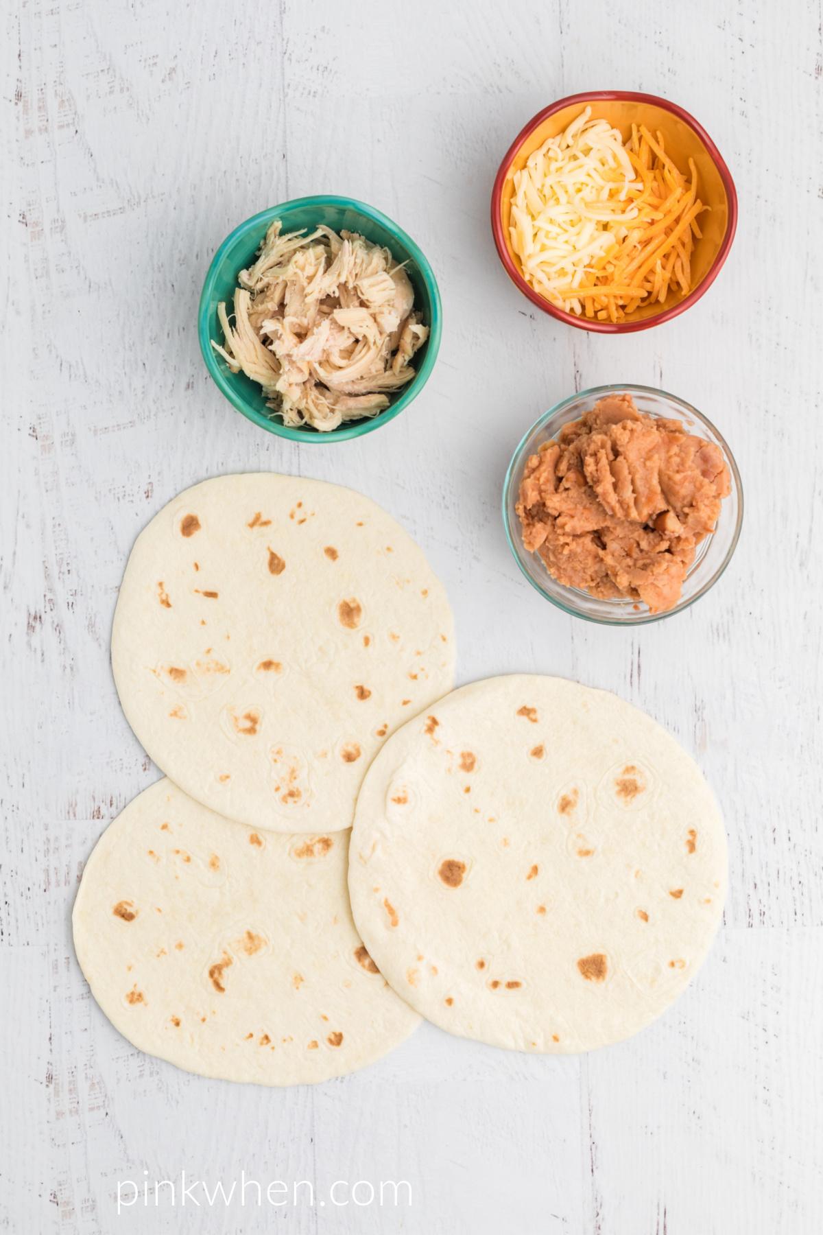Ingredients needed to make quesadillas in the air fryer.