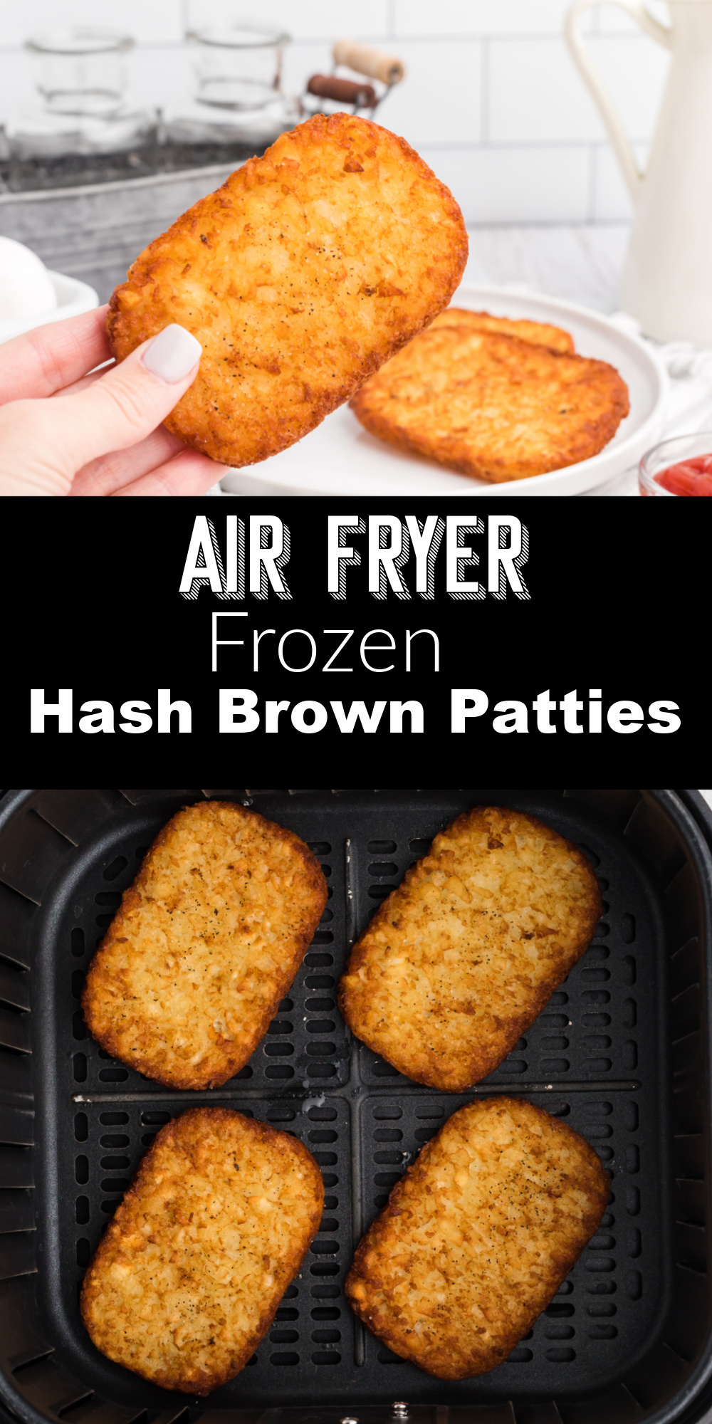 These Air Fryer Hash browns are easy and delicious. Our family loves to make these for breakfast. Check out how easy it is to make these frozen hash brown patties in the air fryer in less than 15 minutes! It's the perfect easy side.