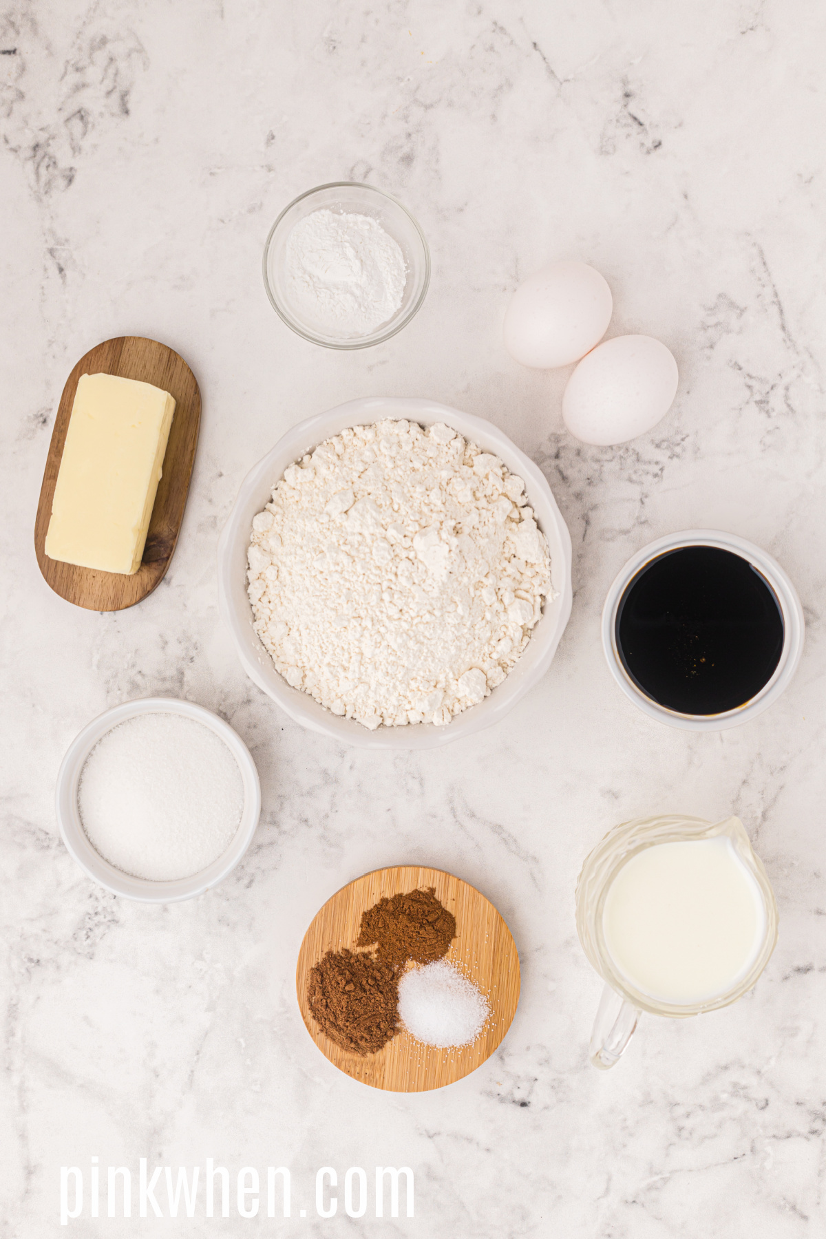 Ingredients needed to make gingerbread cupcakes.