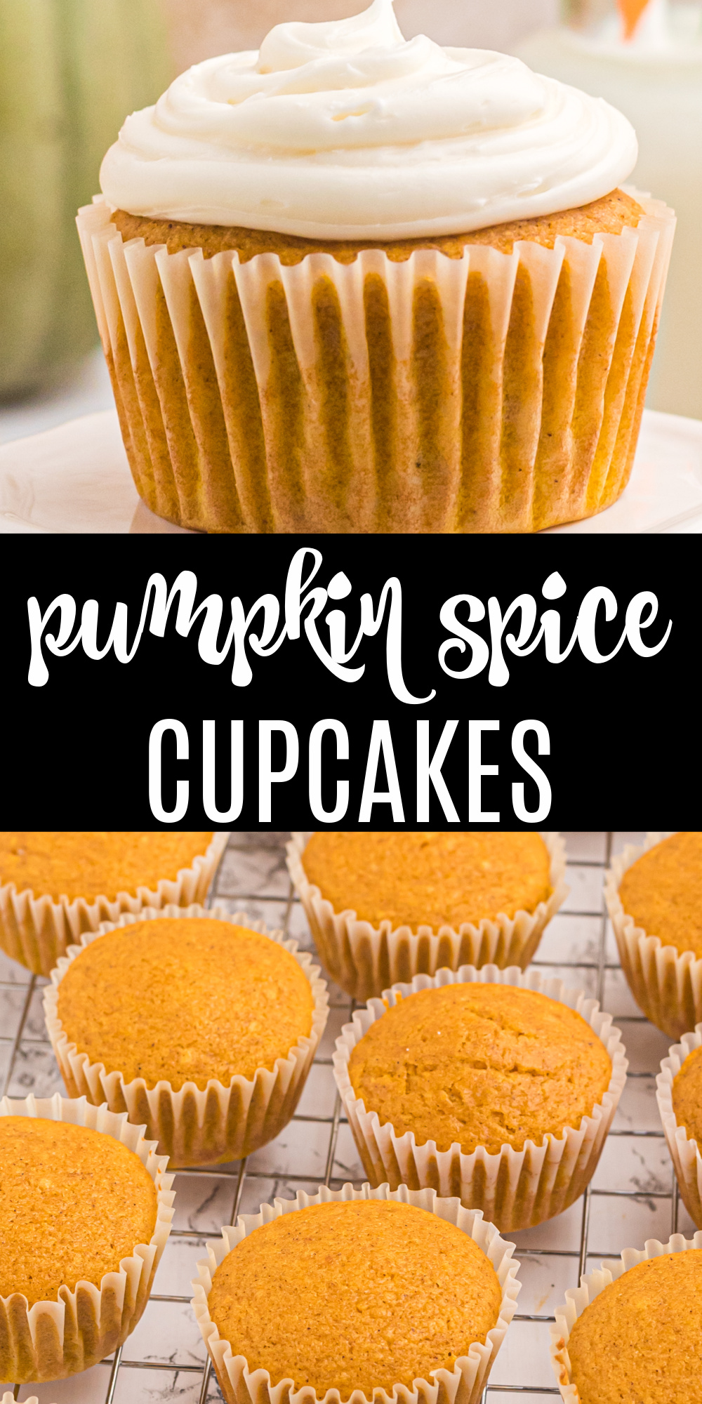 These pumpkin spice cupcakes are full of that wonderful pumpkin flavor. Any pumpkin lover will agree that this perfect pumpkin cupcake recipe is the perfect way to welcome in fall. Add this to your list of delicious pumpkin recipes today!