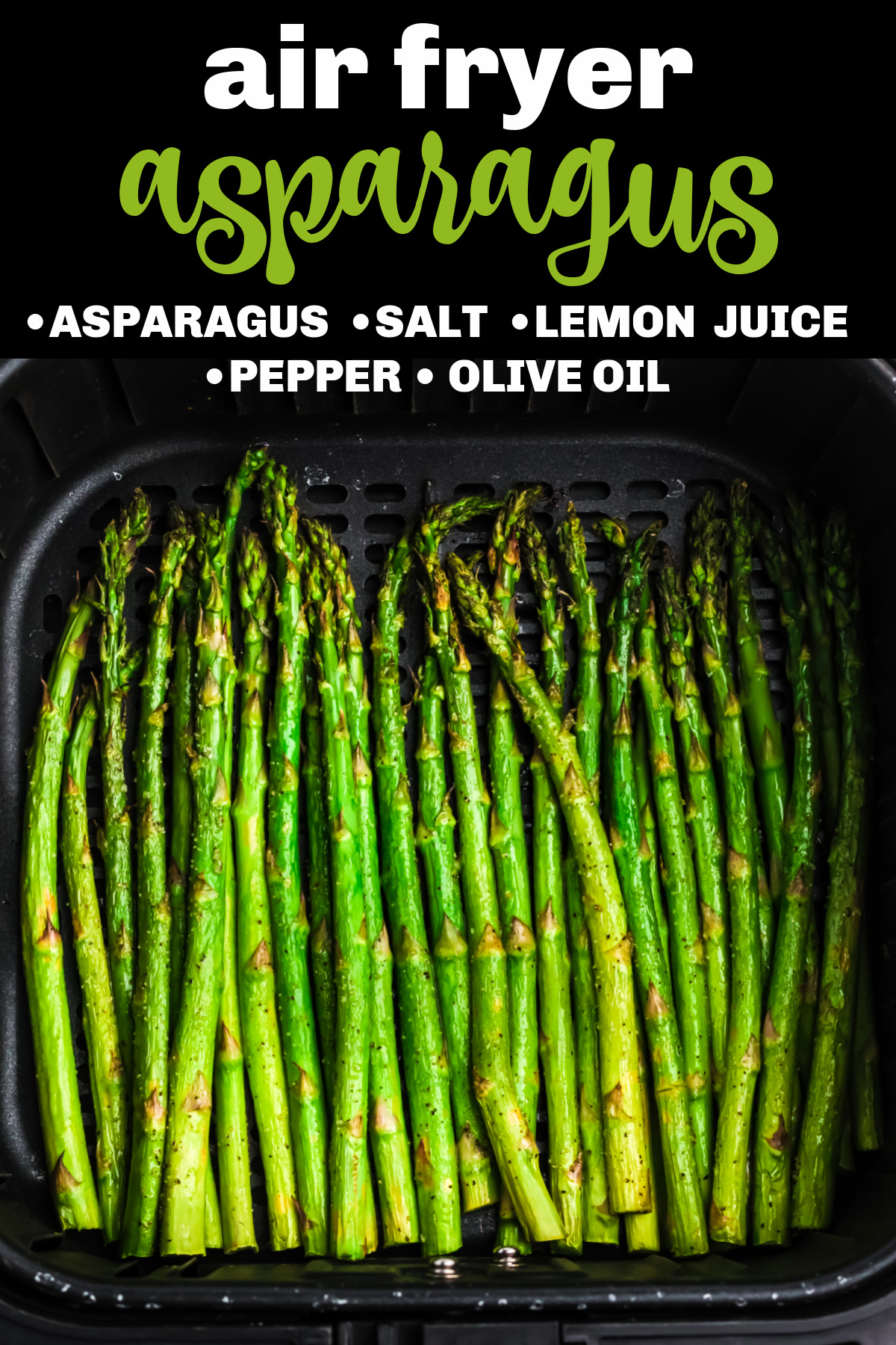 Asparagus in the basket of the air fryer. Image with text.