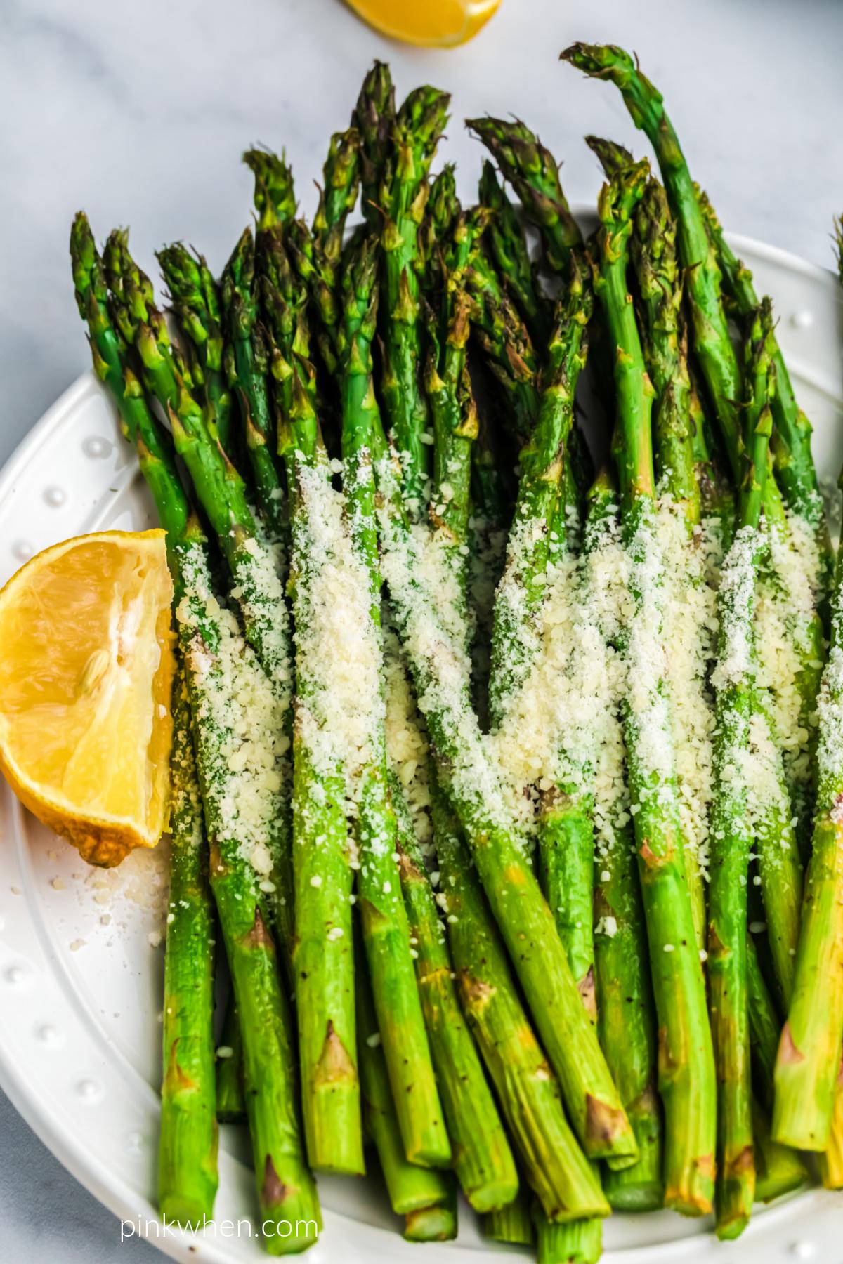 Air Fried Asparagus on a white plate.