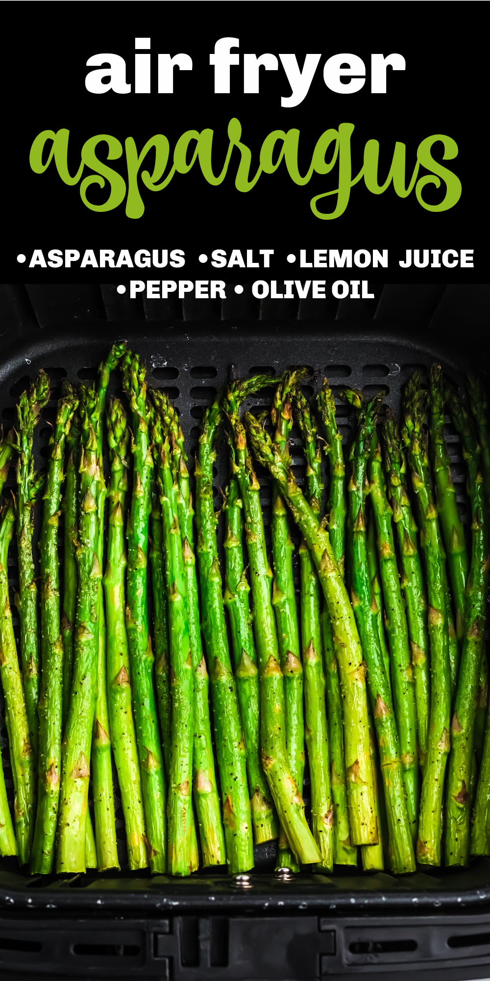 This Air Fryer Asparagus is the perfect side dish or appetizer. Made with asparagus, olive oil, sea salt, ground black pepper, and a dash of lemon before serving. It's the perfect, quick, air fryer recipe that's made in just 10 minutes.