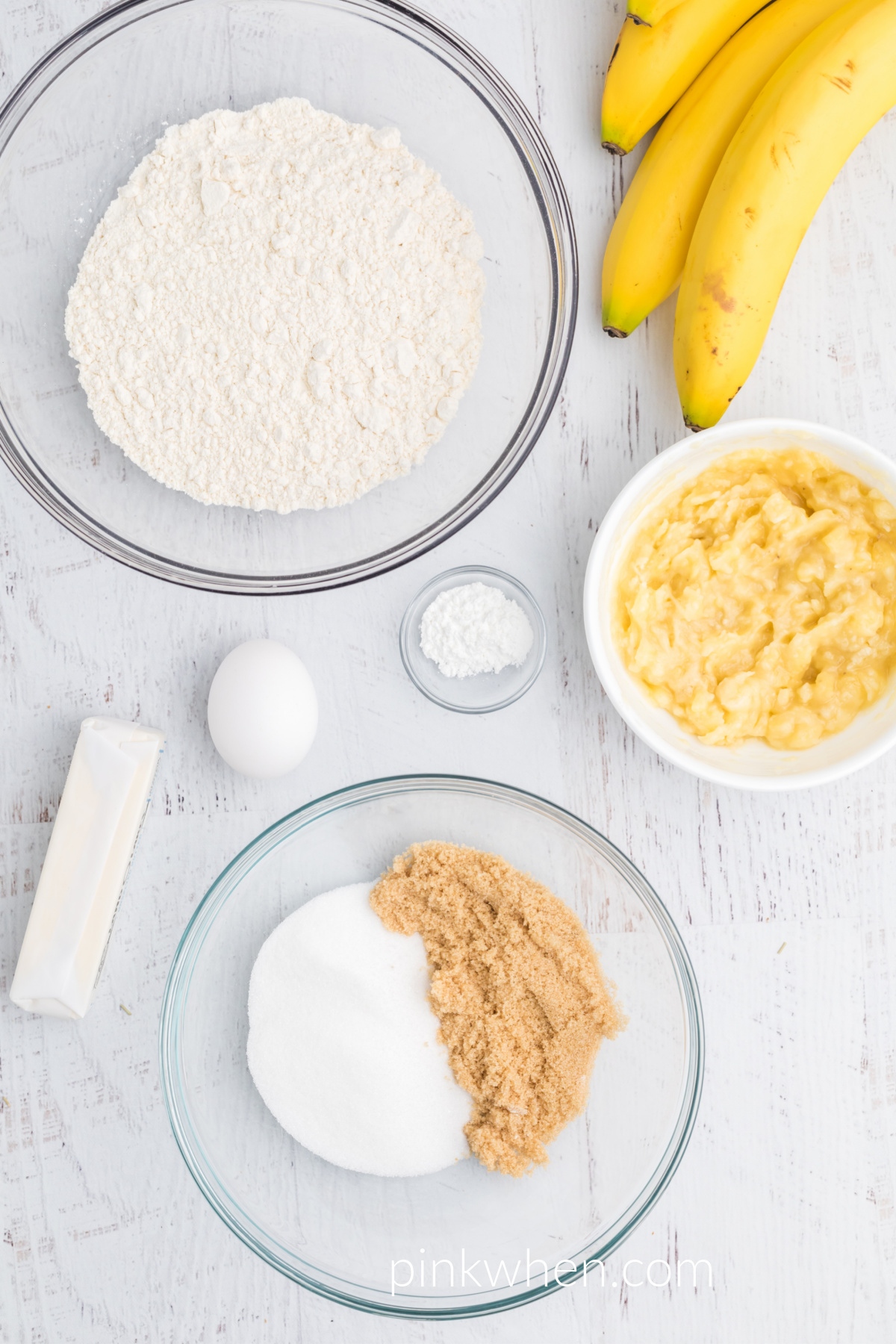 Ingredients needed to make banana muffins in the air fryer.
