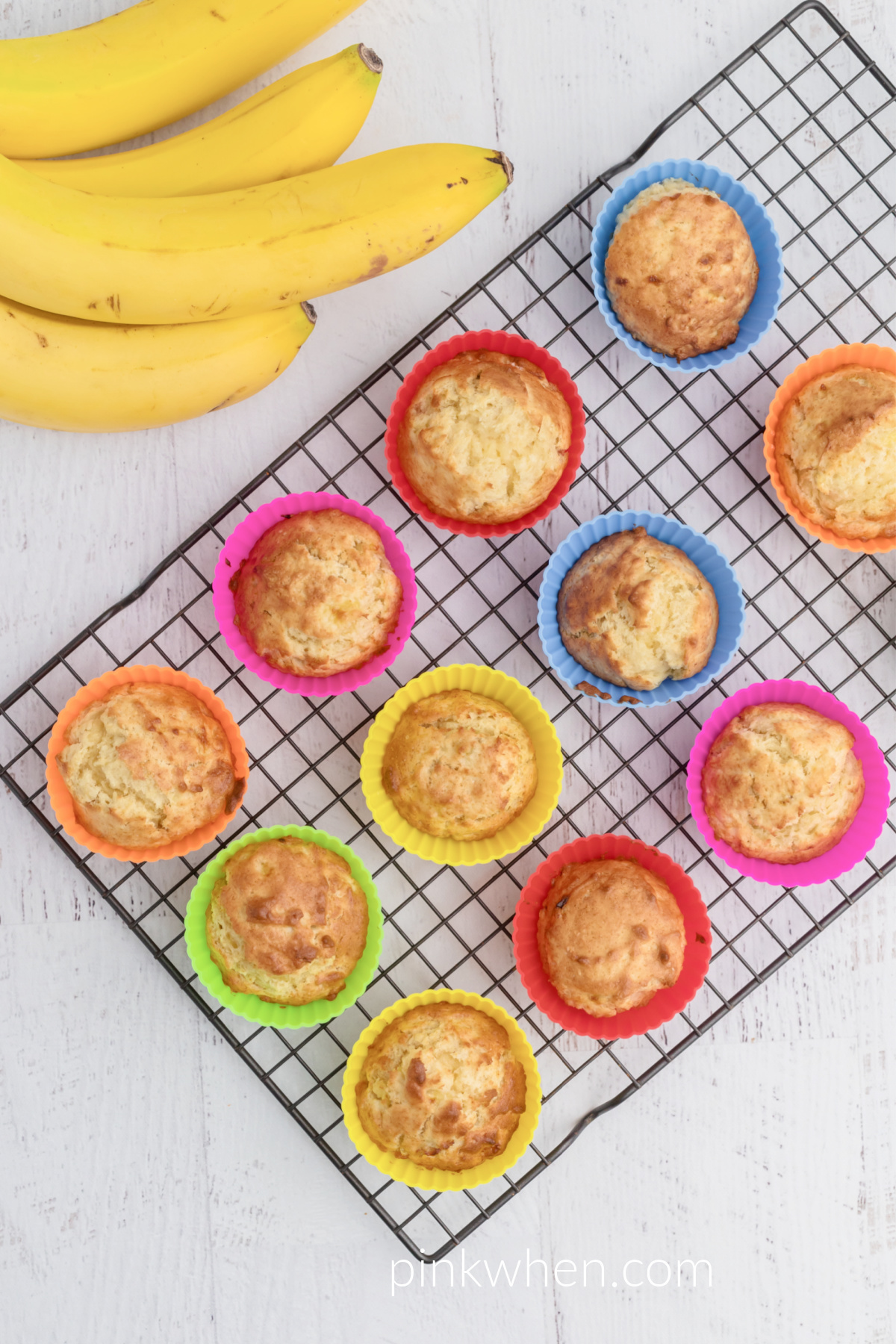 Banana Muffins on a cooling rack.