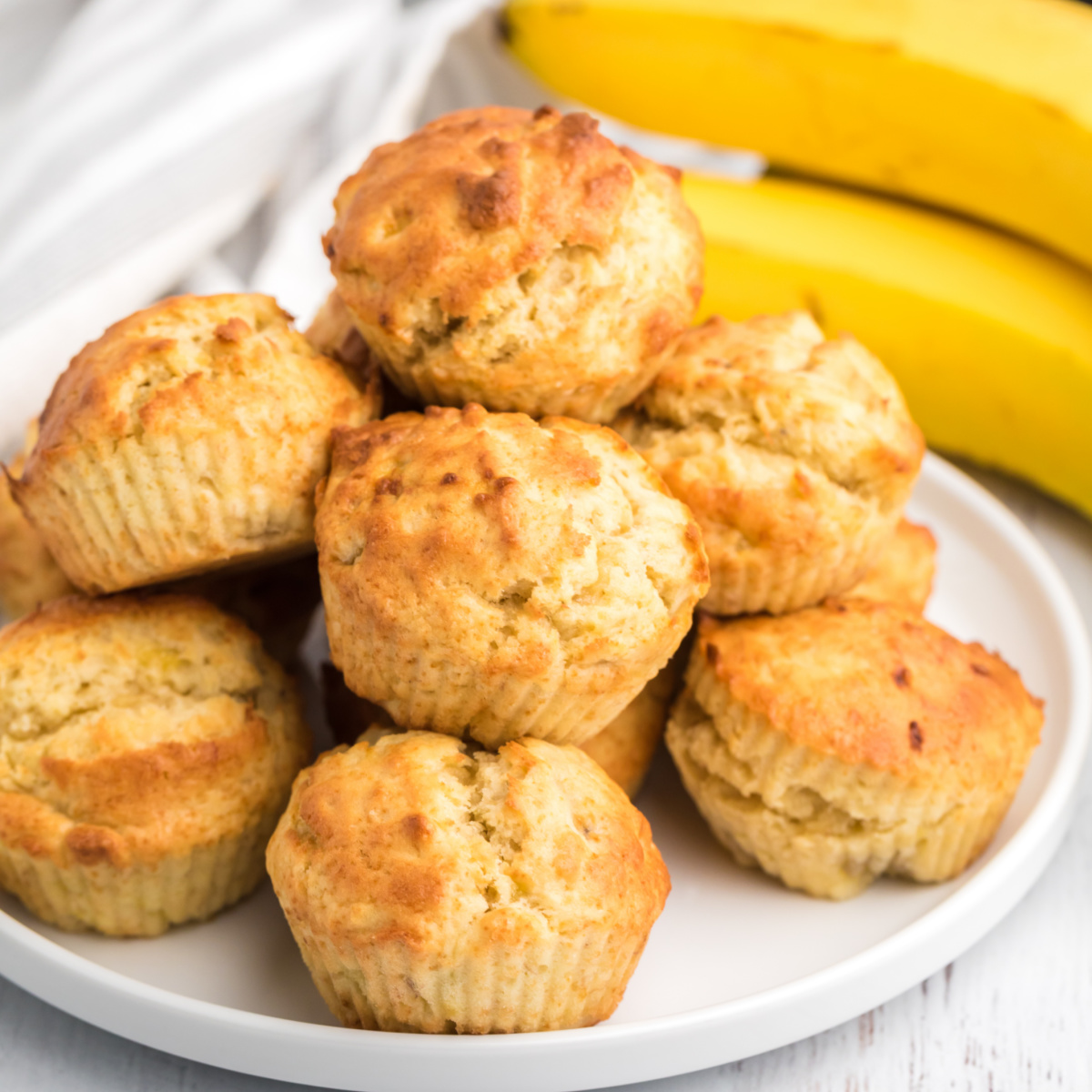 Banana Muffins on a plate and ready to serve.