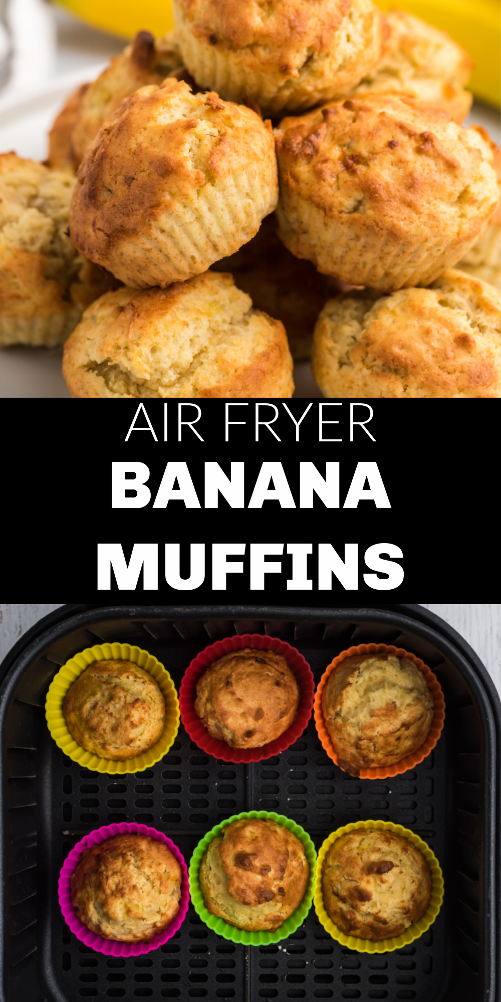 These Air Fryer Banana Muffins make a great breakfast or dessert. Use up those ripe bananas and make this quick and easy recipe in less than 15 minutes with the air fryer.