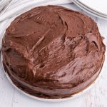 Boxed Vanilla Air Fryer Cake with Chocolate Frosting.