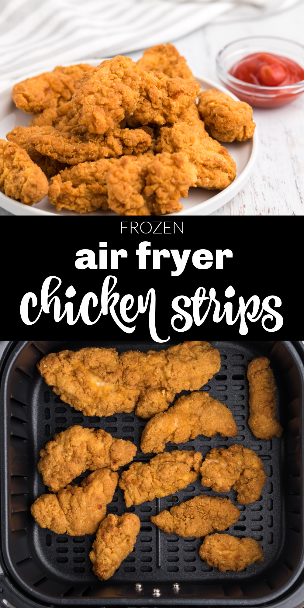These frozen air fryer chicken tenders are super easy and made perfect in the air fryer. You'll love how fast they are, and the kids will love how crispy and delicious they are!